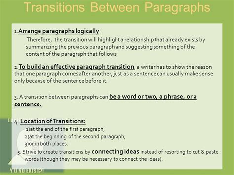 Transition Words For Essays Between Paragraphs by Essay Transition Sentences Between