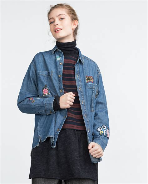 zara patched in blue lyst zara oversized patch shirt in blue lyst