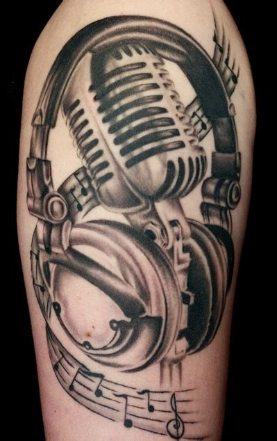 microphone music tattoo designs music microphone tattoos on sleeve