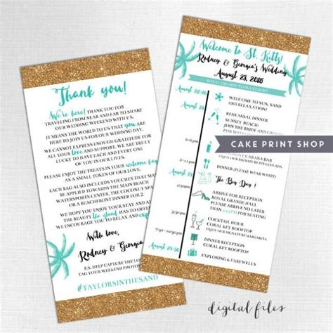 printable wedding itinerary and welcome bag note