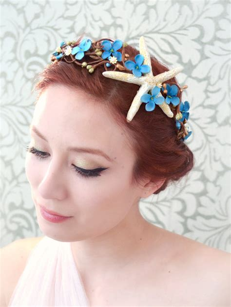 starfish hair accessories by hair comes the bride beach wedding hair accessory starfish flower crown