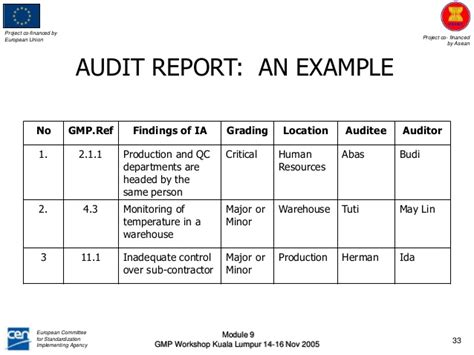 gmp audit report template interna audit module