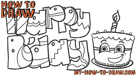 draw happy birthday cards easy step  step