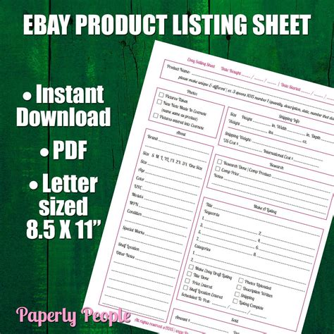ebay selling template new to paperlypeople on etsy ebay products listing sheet