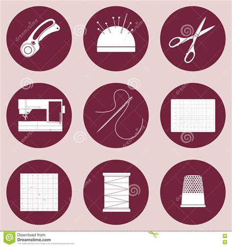 Patchwork Tools And Equipment - quilt and patchwork icons tools and supplies for sewing