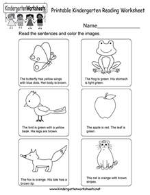 printable kindergarten reading worksheet free english
