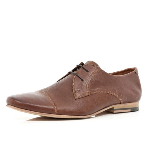 river island brown toe lace up formal shoes in brown