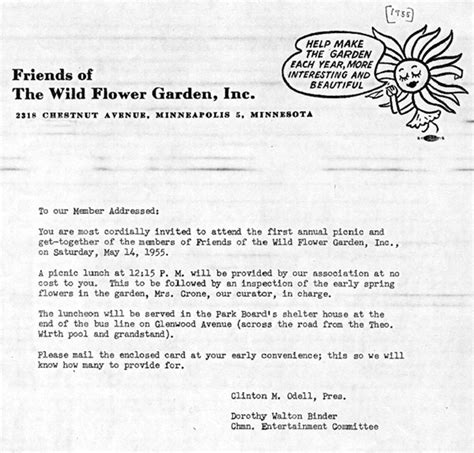 Invitation Letter Format For Picnic Friends Of The Flower Garden Historical Documents