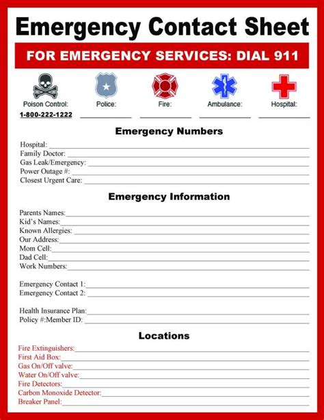 Emergency Information Card Template by Emergency Contact Sheet Bugaboocity