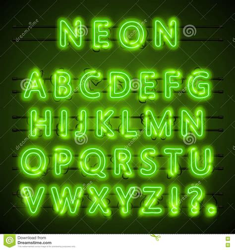 Font Green neon font text green eps l alphabet vector illustration stock vector illustration