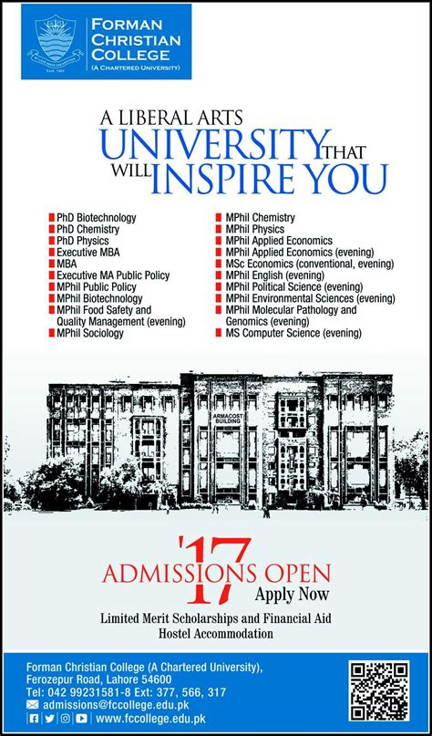 Mba Ms Computer Science by Admission In Forman Christian College Lahore 04