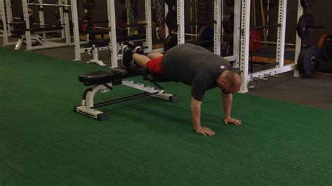 plank with feet on bench prone plank feet on bench alternating knee ups youtube