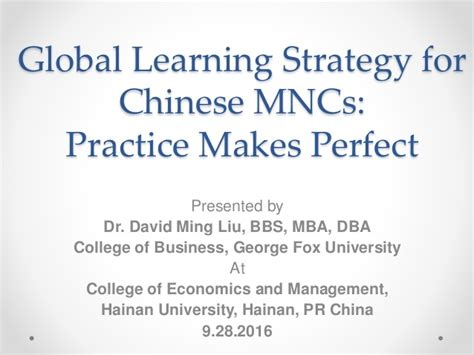 Mba Strategic Learning by My By David Ming Liu Mba Dba