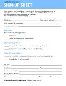 sign up template free volunteer sign up sheet template