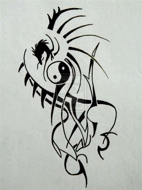 tribal ying yang dragon tattoo by rudibh on deviantart