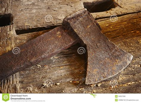 antique tools axe  wood pieces royalty  stock