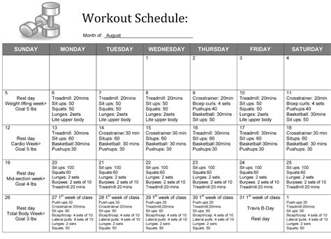 weight training excel spreadsheet workout schedule template