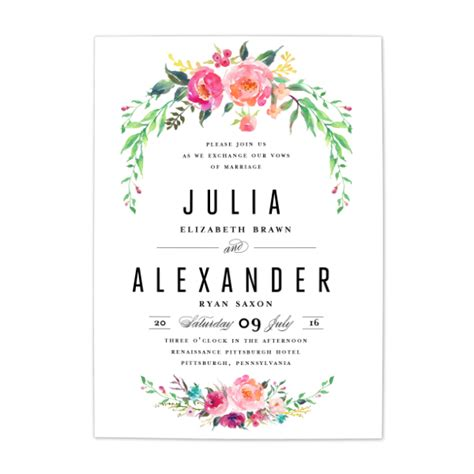 bohemian floral wedding invitation blush paper co