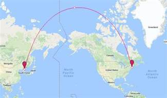usa map distance between states why canada would be directly in the way of a korean
