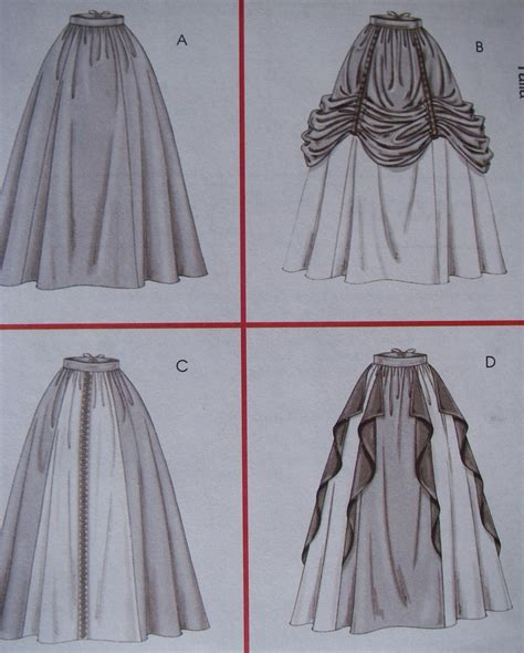 different pattern of clothes four renaissance skirts and overskirt pattern back