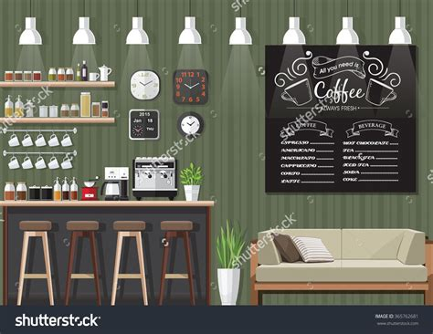 coffee shop design price modern flat design coffee shop interior vector