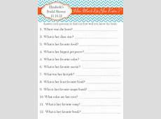 to How Much Do You Know Bridal Shower Game Printable on Etsy