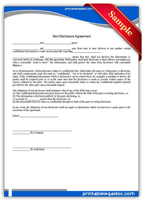 Nda Release Letter Free Printable Nondisclosure Agreement Form Generic