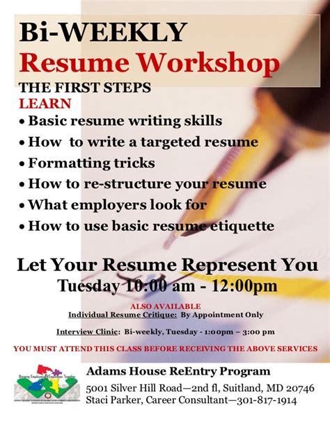 resume writing classes bi weekly resume writing workshop flyer