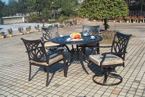 Cast Aluminum Patio Furniture Sets Patio Furniture Dining Set Cast Aluminum 5pc Burlington