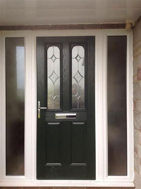 Front Door Side Panels 2 Panel 2 Arch Composite Front Door In Black With Two Side Panels