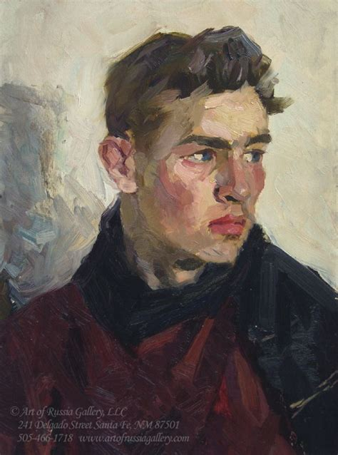 paint man isaak tartakovoski portrait of young man 17 5 x 13 75 oil