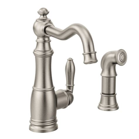 moen weymouth single handle high arc kitchen faucet at menards 174 moen s72101srs weymouth single handle high arc kitchen