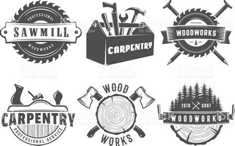 woodwork logos vector badges  carpentry sawmill