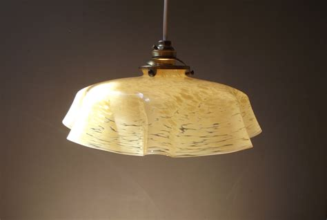 Yellow Glass Ceiling Light Beautiful Antique Yellow Marbled Opaline Glass Ceiling Light