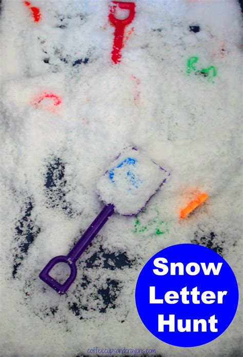 up letter with snow preschool letter hunt in pretend snow coffee cups and
