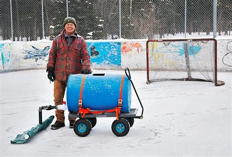 backyard rink zamboni whitehorse man s homemade zamboni keeps hockey rink alive