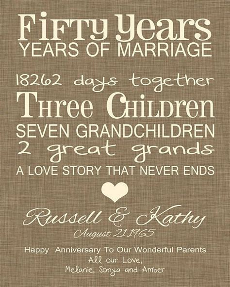 Wedding Anniversary Quotes 26 Years by 50th Anniversary Gift 50th Wedding Anniversary Print