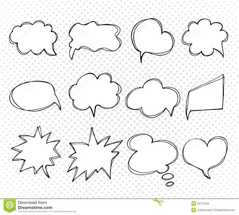 doodle bubbles vector free collection of templates speech bubbles