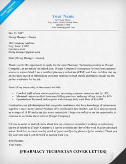 Target Pharmacist Cover Letter by Pharmacy Technician Cover Letter Sle Guide Resumecompanion