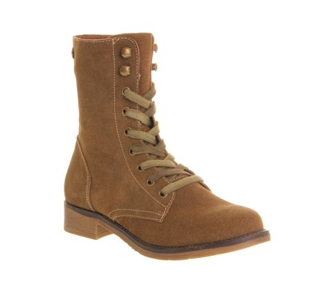 womens office brat pack lace up beige suede boots ebay