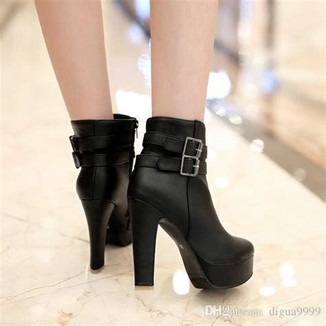 Platform Faux Leather Ankle Boots womens faux leather comfortable ankle boots platform high