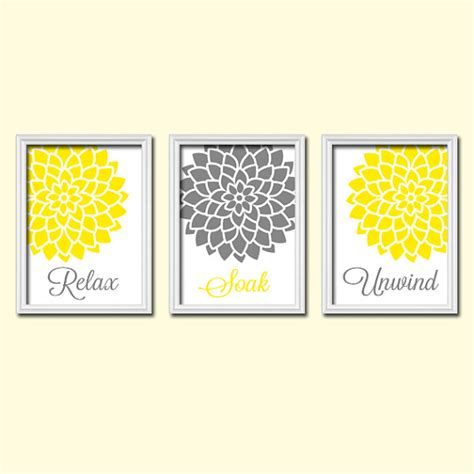 Gray And Yellow Wall Decor by Yellow Gray Bathroom Wall Canvas Or Prints Wall