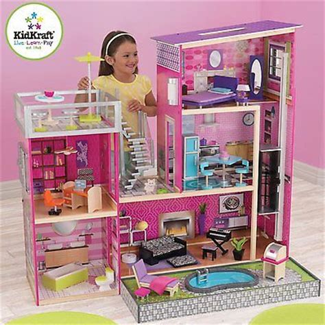 barbie size doll house barbie size dollhouse play set large wooden girls doll dream house 35p furniture