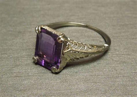 deco 14k filigree emerald cut amethyst engagement ring