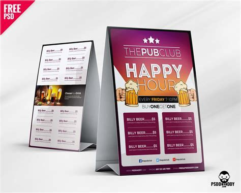 [Download] Beer Cafe Tent Card Free PSD   PsdDaddy.com