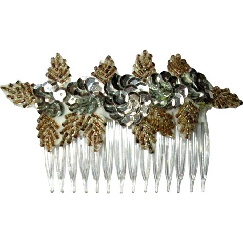 beaded hair combs beaded sequined hair comb 70 s vintage from