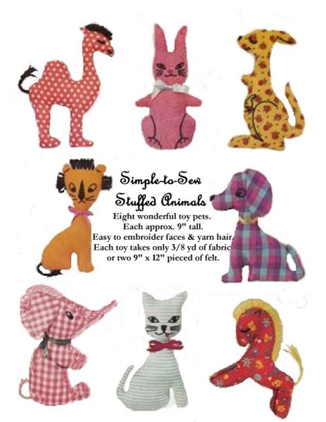 pattern for simple stuffed animal patterns animals1
