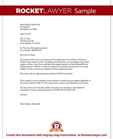 Demand Letter For Child Support demand for child support payment letter with sle
