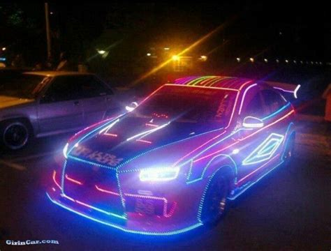 Sports Car Decked Out In Led Lights Neon Hot Rod Baybeh Led Lights Car
