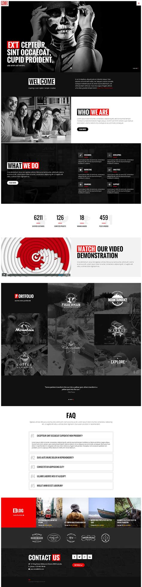 red one page html5 template on behance